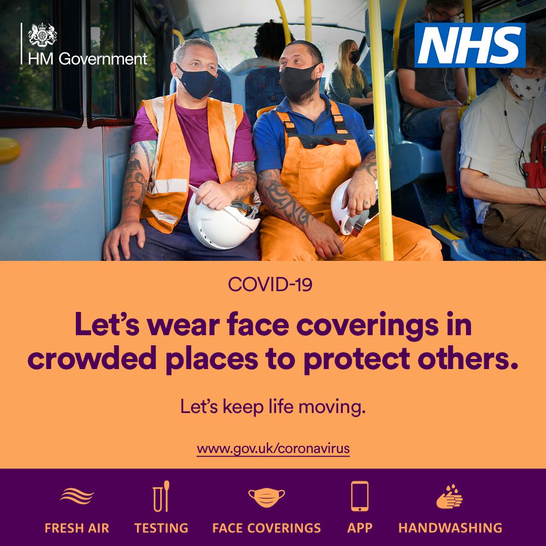Lets wear face coverings.